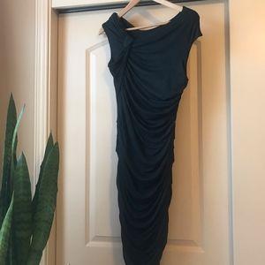 Anthropologie Ruched Dark Teal-Green Dress